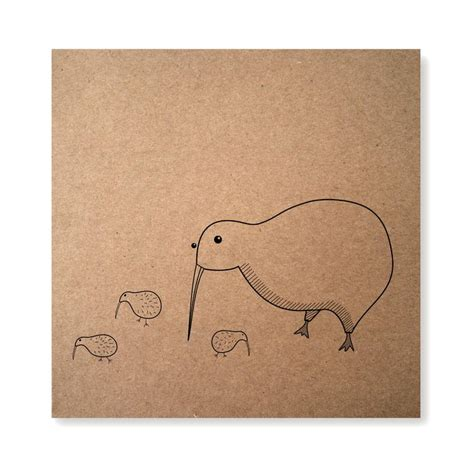 kiwi bird handmade illustrated card mother kiwi