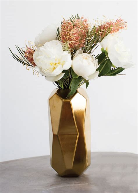 vases for wedding flowers geometric vase in gold diy wedding centerpieces