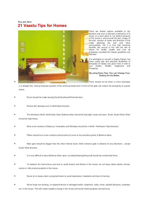 Vasthu  21 Vaastu Tips For Homes , 19p