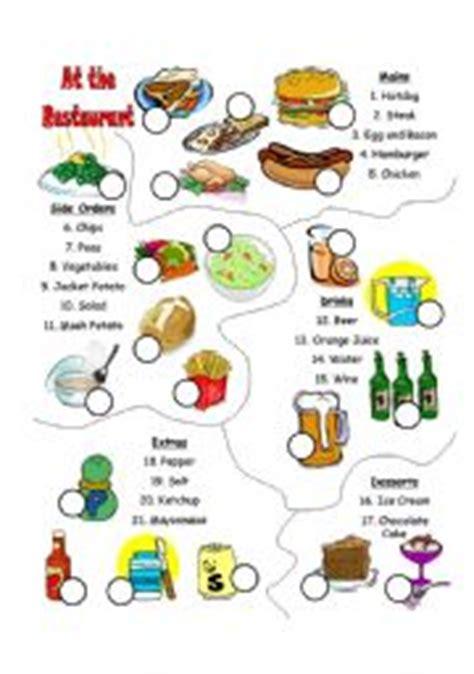 english worksheets   restaurant vocabulary match