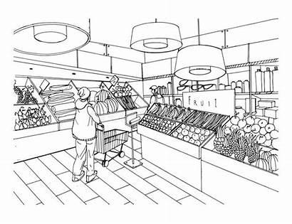 Grocery Supermarket Department Vegetable Vector Hand Drawn
