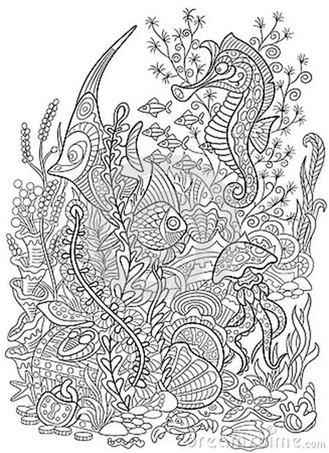 zentangle stylized animal set sea collection ocean life