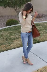 thenortheastgirl.com taupe sweater, faded jeans, leather ...