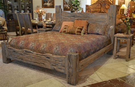 rustic king bed custom western style wood bed brsa
