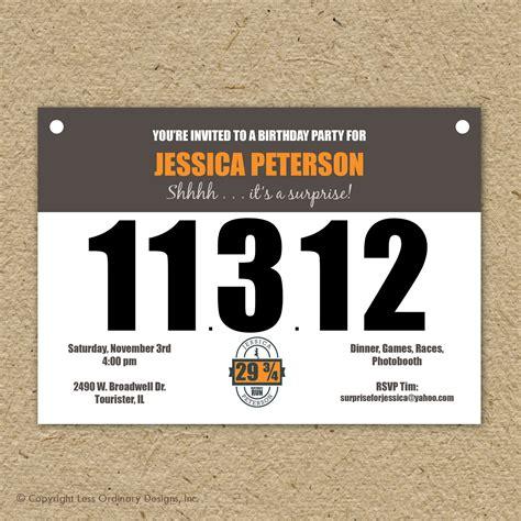 Runner's Bib Birthday Party Invitation, Marathon Theme