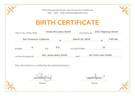official birth certificate template birth certificate template 44 free word pdf psd format free premium templates