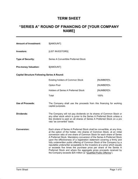 term sheet  series    financing template word