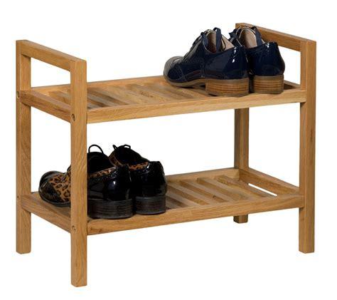 stackable oak shoe storage rack narrow wooden hallway