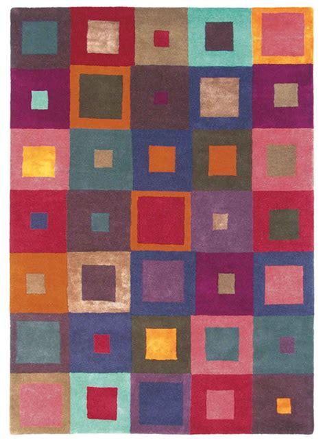 tapis salon  seller estella carre multicolore de la