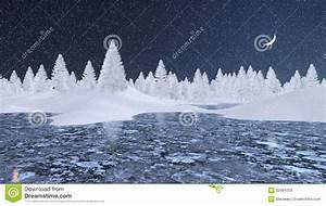 Snowy Firs And Frozen Lake At Winter Night Stock Photo ...