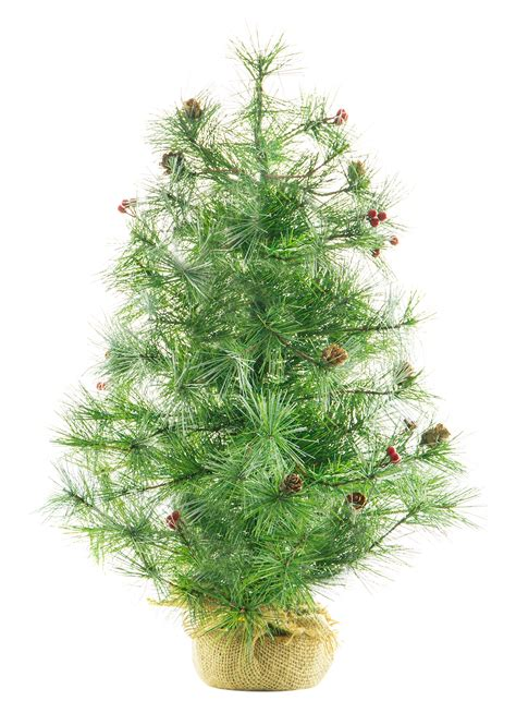24 quot unlit decorated pine tree needle artificial christmas tree ebay