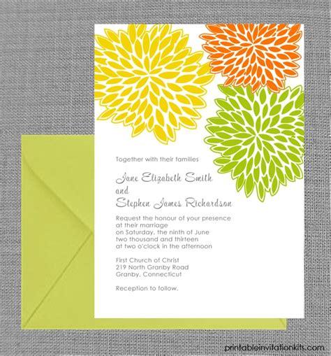 spring petal cluster wedding invitation  printable