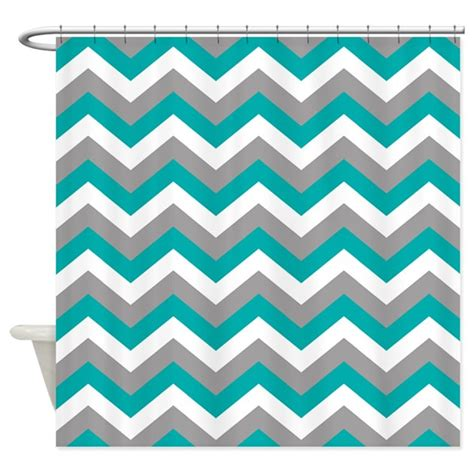 Grey And White Chevron Curtains Canada by Grey Teal Chevron Pattern Shower Curtain By Colors And