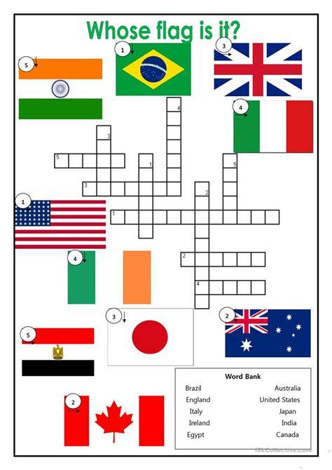country flag crossword worksheet  esl printable