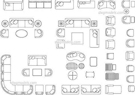 living room furniture dwg cad file