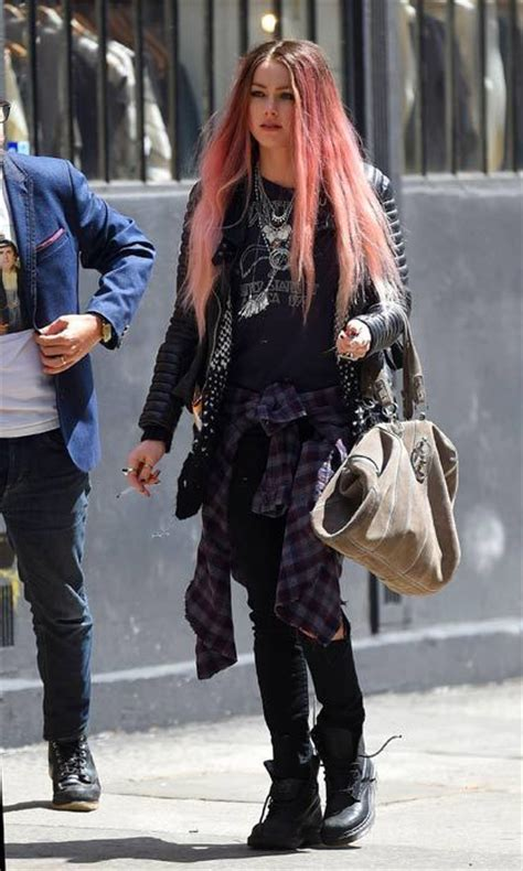 amber heard pink hair  celebrities  rock rainbow