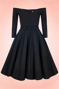 Robe Retro Année 50 : robe r tro annees 50 decollete coeur epaules denudees manches 3 4 vintage noire dress ~ Nature-et-papiers.com Idées de Décoration