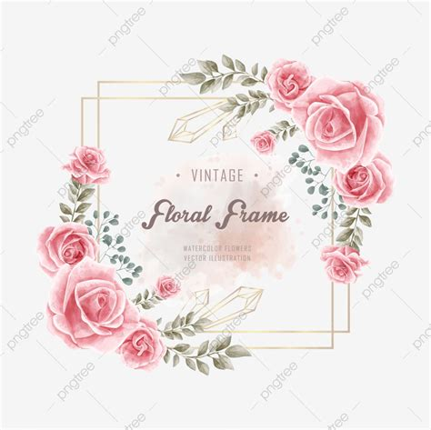 Vintage Watercolor Floral Flower Golden Frame Background