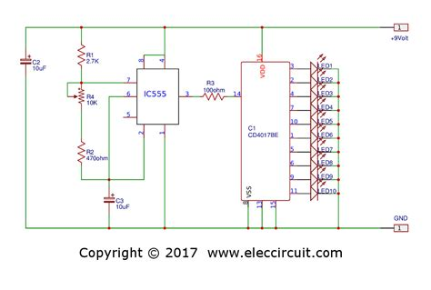 led chaser circuit with pcb layout running lights eleccircuit com