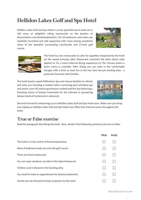 golf spa hotel reading worksheet  esl printable