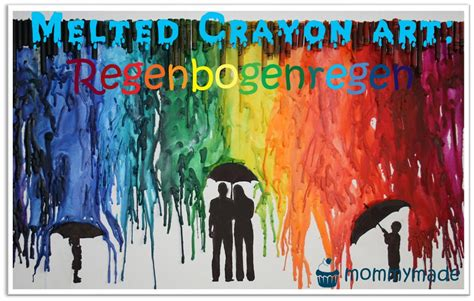 melted crayon art regenbogenregen handmade kultur