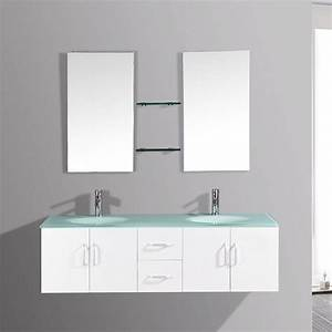 Meuble De Salle De Bain Solde : gaia blanc ensemble salle de bains meuble 2 vasques 2 ~ Teatrodelosmanantiales.com Idées de Décoration