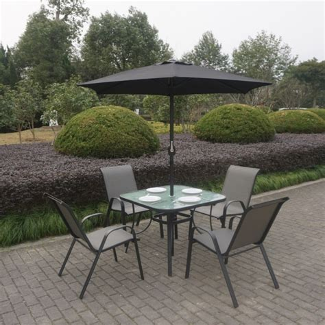 black metal 4 seater garden furniture dining set parasol