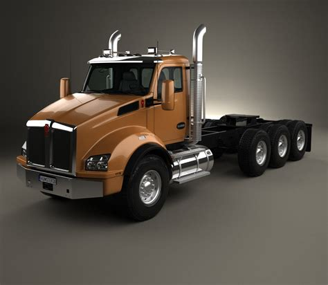 Kenworth T880 Chassis Truck 4 Axle 2013 3d Model Hum3d