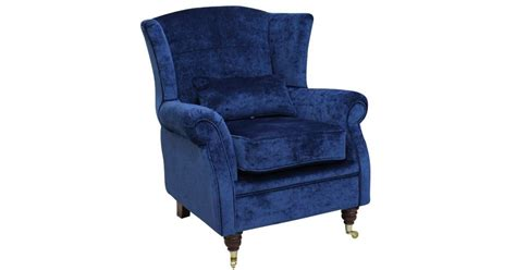 Wing Chair Fireside High Back Armchair Velluto Royal Blue