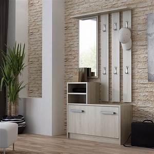 vestiaire dentree ambre chene sonoma achat vente With porte d entrée alu avec meuble salle de bain bon rapport qualité prix