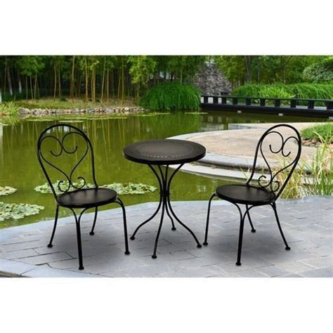 small bistro table set 3 piece outdoor scroll bistro set table chairs small black