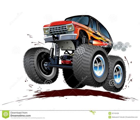 monster trucks races cartoon cartoon monster truck vector illustration cartoondealer
