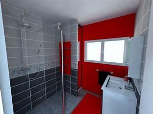 sdb gris et rouge douche a l39italienne rendus salles With salle de bain gris et noir