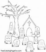 Graveyard Coloring Halloween Pages Holidays Popular sketch template