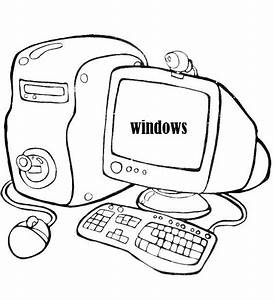 computer coloring printable page With electronics