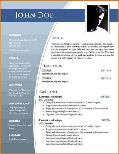 Model Resume In Word File by 6 Template Cv Word Modele De Facture