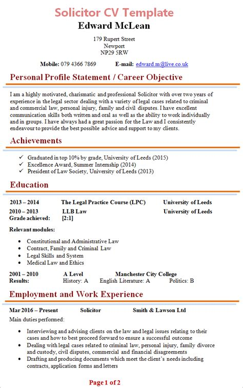 solicitor cv template