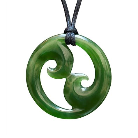 Womens - Greenstone Double Koru Necklace