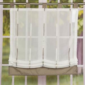 Günstige Raffrollos Mit Schlaufen : raffrollo rollo schlaufen wei transparent mit braunen streifen 140x140cm gardinen ~ Frokenaadalensverden.com Haus und Dekorationen