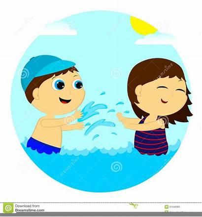 Water Clipart Children Splash Splashing Playing Clip