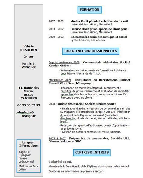 Exemple Gratuit De Cv by Cv 100 Gratuit Exemple De Cv Lettre De Motivation