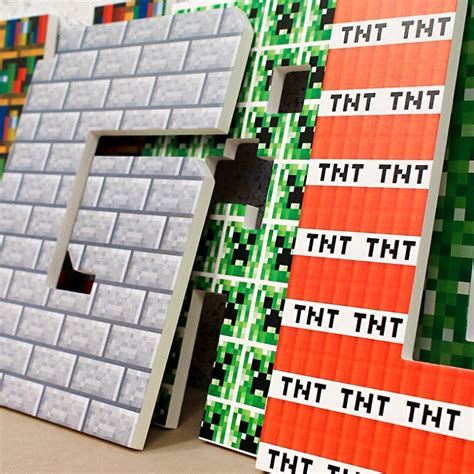 boys minecraft themed wooden wall letters