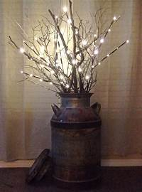 lighted tree branches LED branch lights and a few real branches in an old milk ...