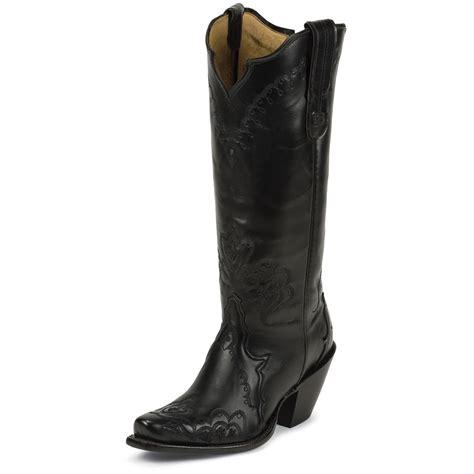 Tony Lama Women's Black Elko Black Label Western Boots ...
