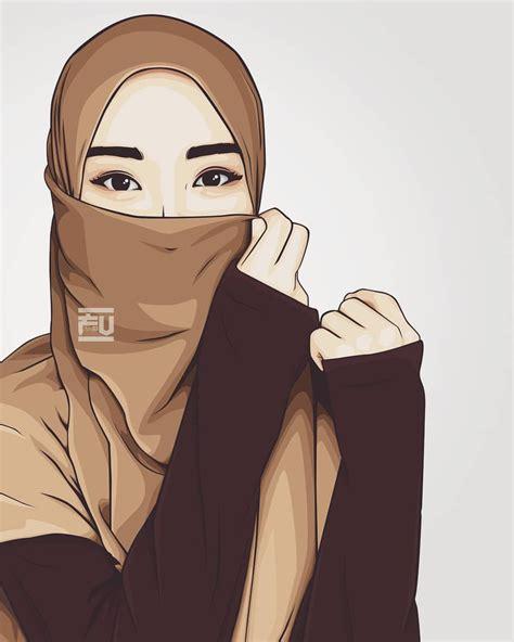 vector hijab niqab ahmadfu doodle muslimah hijab