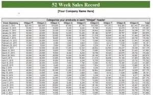 week sales log  excel templates