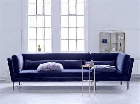 banc canape bloomingville rox sofa bench blue velvet living and company