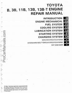Toyota B 3b 11b 13b 13b-t Engine Repair Manual