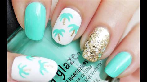 easy palm tree nail art   toothpick youtube