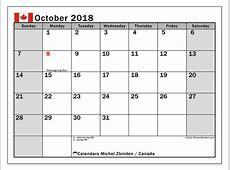 Calendar October 2018, Canada Michel Zbinden en